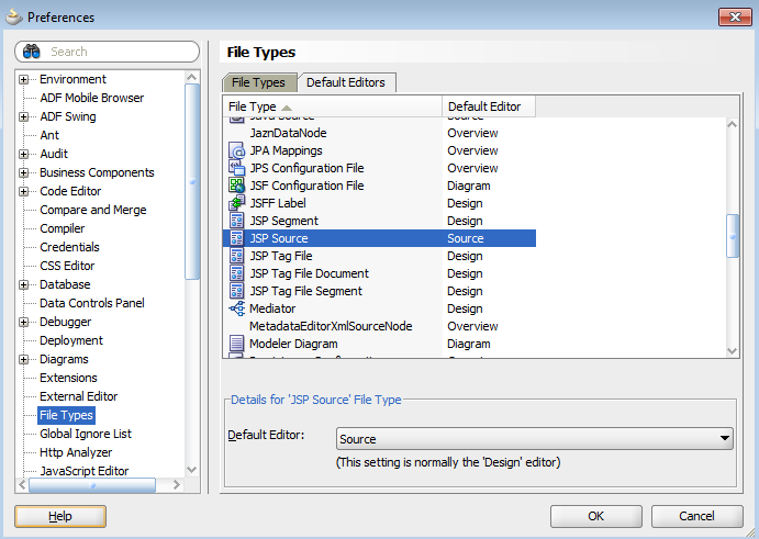 Changing the default editor/view in JDeveloper | A-Team