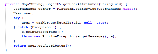 Method body for getUserAttributes