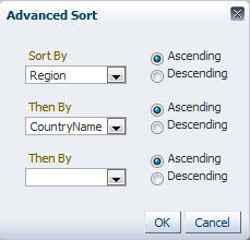 Advanced sort dialog
