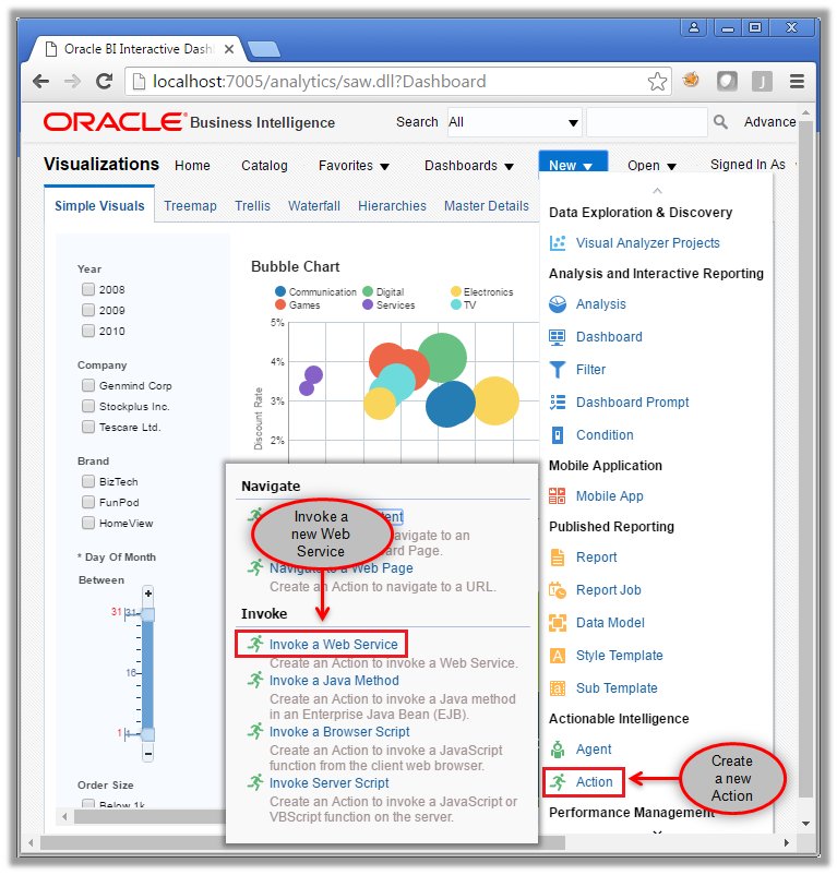 Figure 10 - Creating a new OBIEE Action