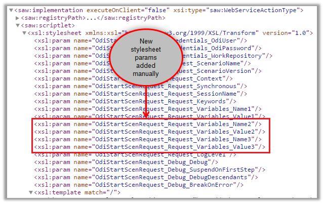 Figure 19 - Modifying the XML Document of the OBIEE Action – Stylesheet