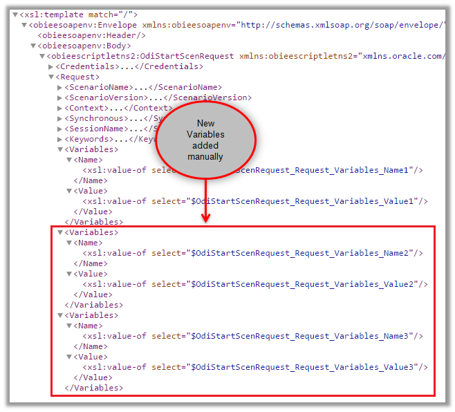 Figure 20 - Modifying the XML Document of the OBIEE Action – Variables