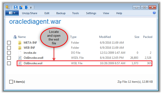 Figure 3 - Opening the ODI WSIL File for Modification