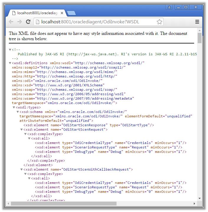 Figure 7 - URL Test of the ODI WSDL Document