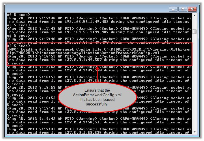 Figure 9 - Reloading the OBIEE Action Framework Configuration File