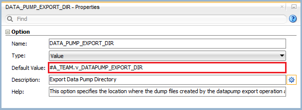 Figure 5: Knowledge Module Option – Data Pump Export Directory