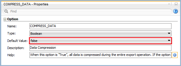 Figure 7: Knowledge Module Option – Data Compression
