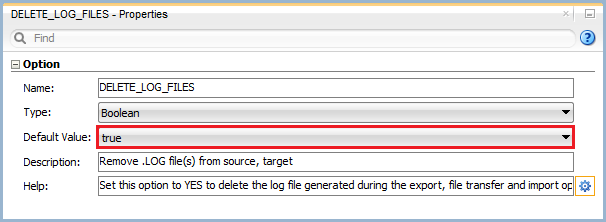 Figure 10: Knowledge Module Option – Delete Log Files