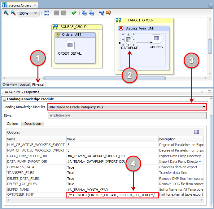 Figure 12: Customizing Knowledge Module Options in Mappings