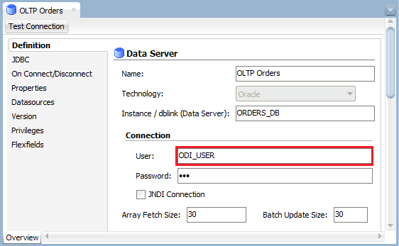 Figure 13: ODI Topology Manager – Physical Source Data Server Connection