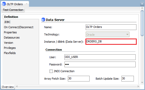 Figure 14: ODI Topology Manager- Database Link Configuration