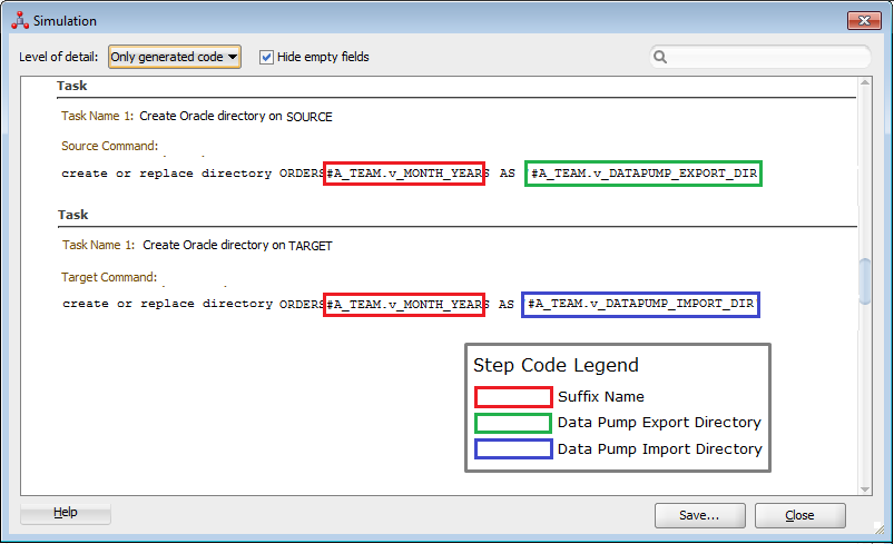 Figure 16: LKM Oracle to Oracle Datapump Plus – Oracle Directory Name Creation