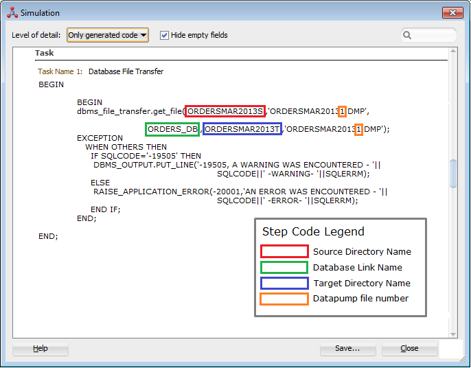 Figure 18: LKM Oracle to Oracle Datapump Plus – Code Sample for File Transfer
