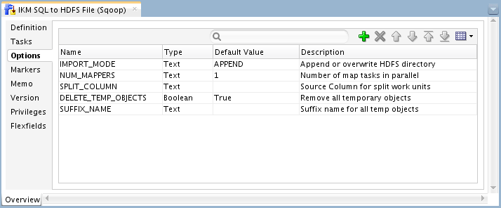 Figure 3: IKM SQL to HDFS File (Sqoop) - Options