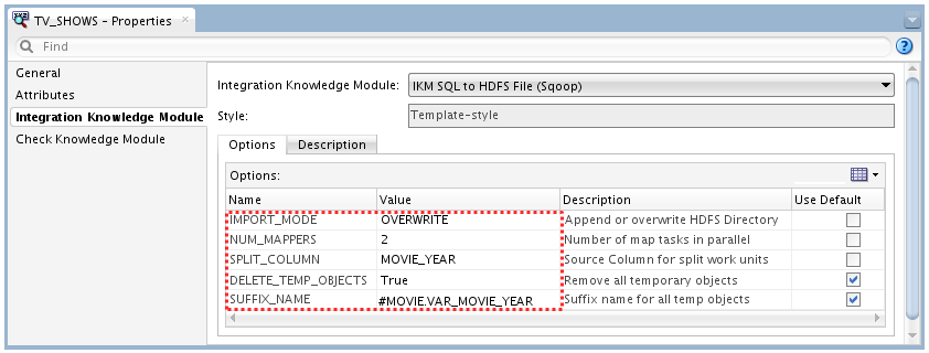 Figure 9: Deployment Specification for Sqoop Initial Imports