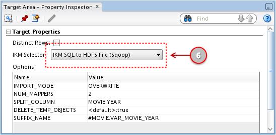 Figure 24: ODI 11g Interface - Target Area Property Inspector