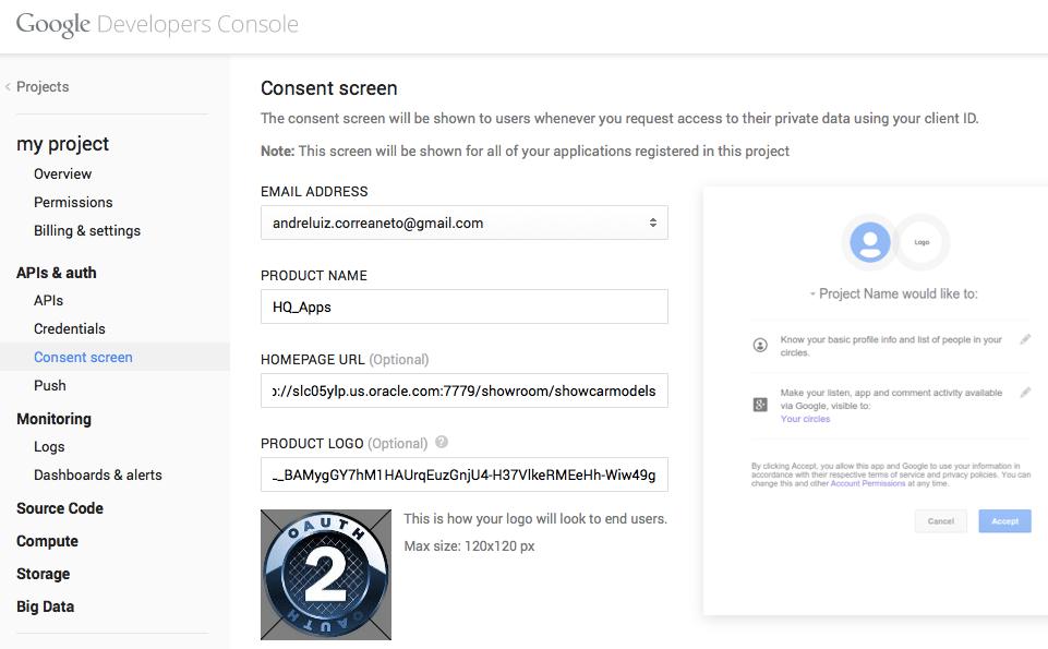 Google Consent Screen