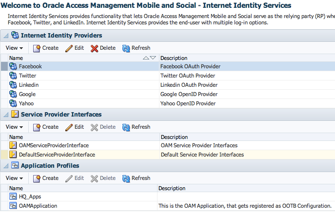 Social Identity Main Screen