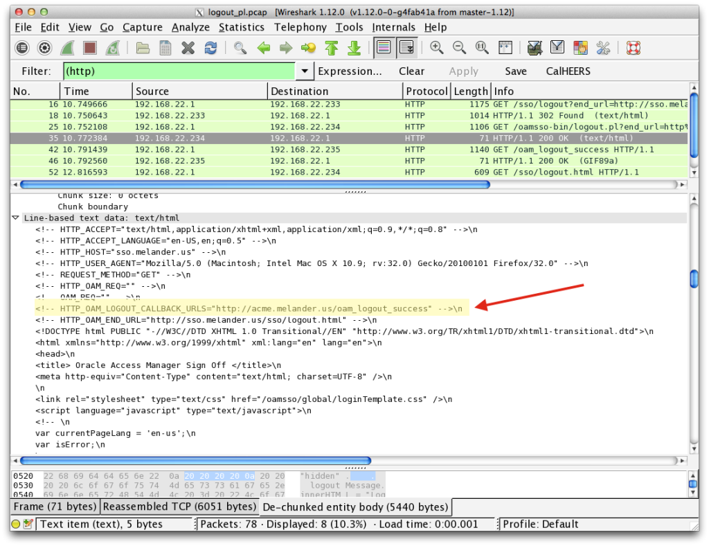 WireShark Trace Header highlighted