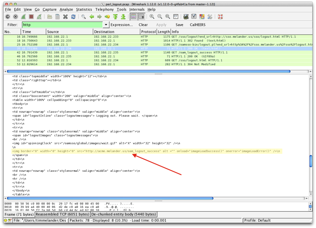 WireShark Trace oam_logout_success