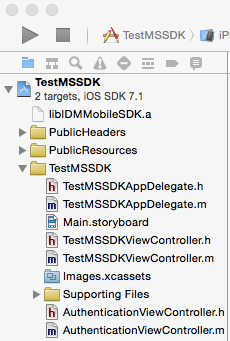 XCode Project with M&S SDK libraries