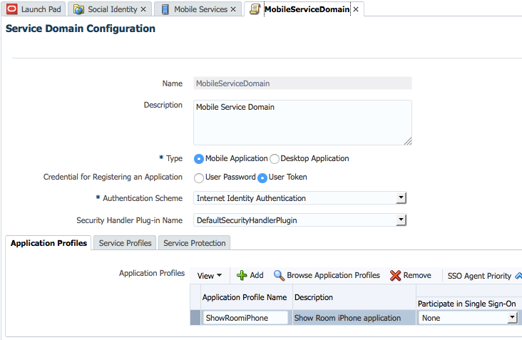 Mobile Service Domain Application Profiles
