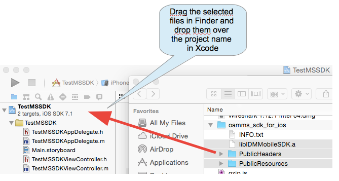 Adding M&S SDK libraries to Xcode project