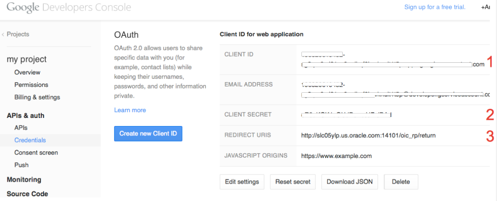 Web Application Credentials