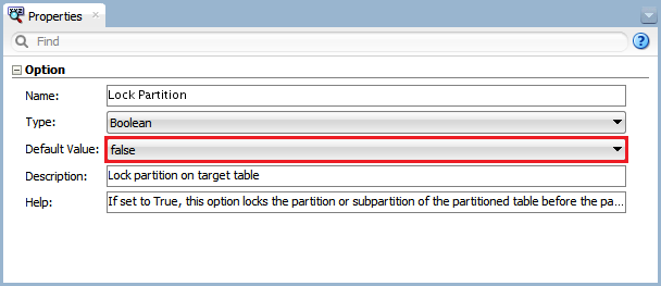 Figure 10 - Knowledge Module Option – Lock Partition