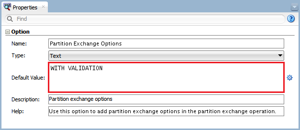 Figure 11 - Knowledge Module Option – Partition Exchange Options