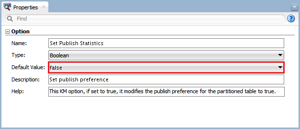 Figure 14 - Knowledge Module Option – Set Publish Statistics