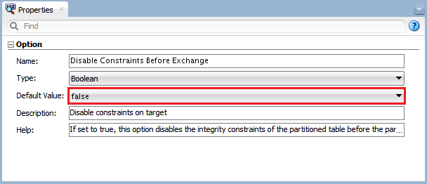 Figure 15 - Knowledge Module Option – Disable Constraints before Exchange