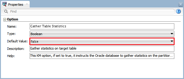 Figure 19 - Knowledge Module Option – Gather Table Statistics