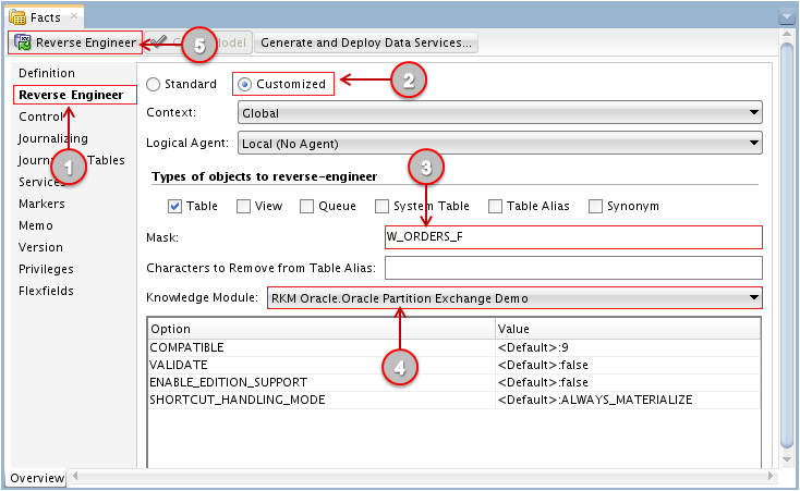 Figure 21 - Importing Database-Defined Partitions into ODI