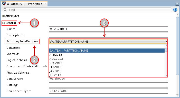 Figure 23 - Setting the Partition Name in an ODI Mapping