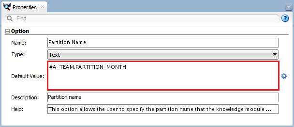 Figure 3 - Knowledge Module Option – Partition Name Variable