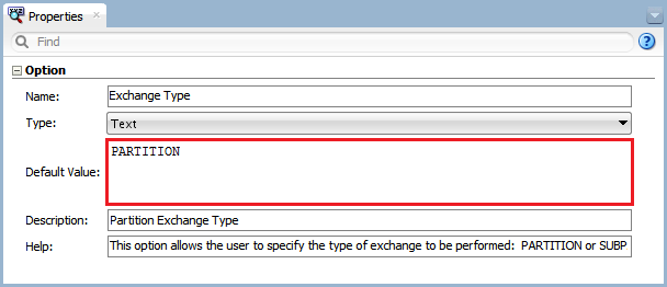 Figure 5 - Knowledge Module Option – Exchange Type