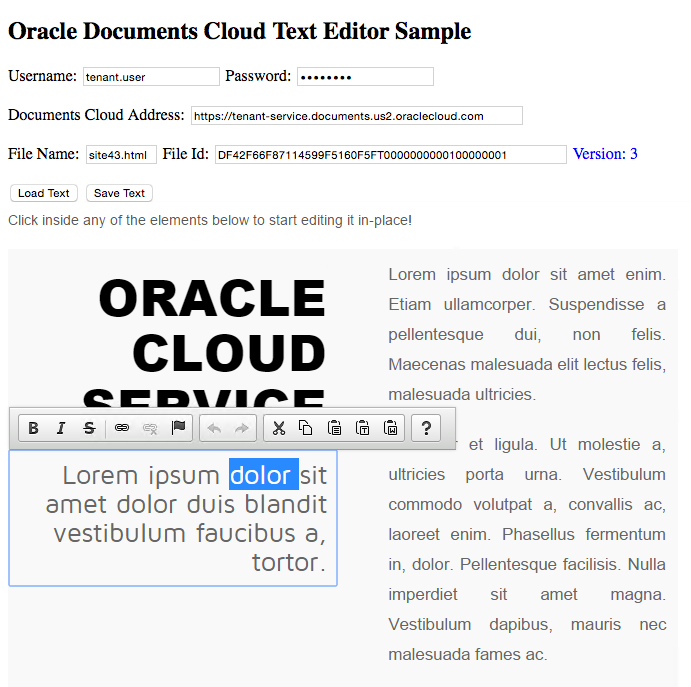 Integrating with Documents Cloud using a Text Editor as an