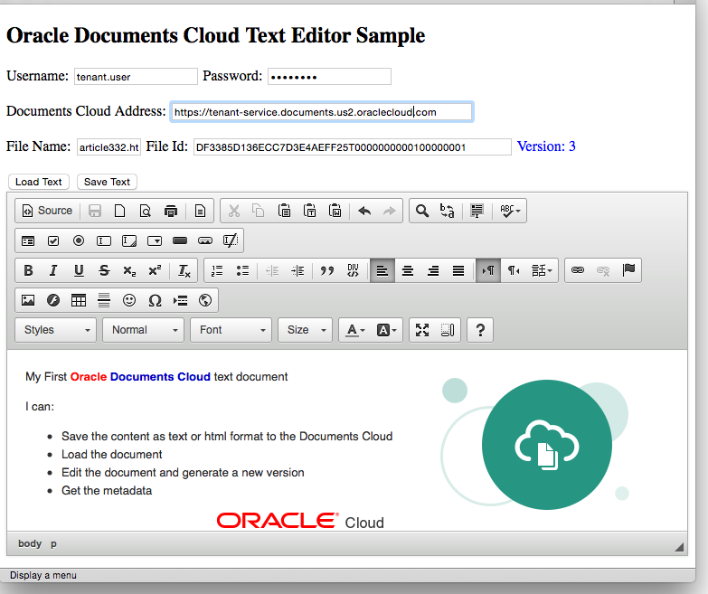 Documents Cloud Text Editor Sample Screenshot