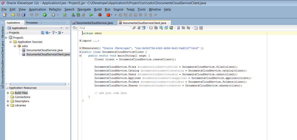 Generated code creates a basic client. The DocumentsCloudService.java class contains the logic to call all services.