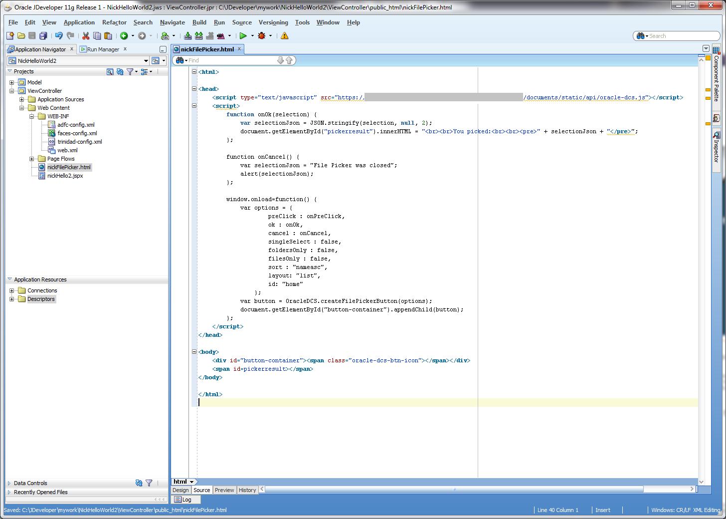 File Picker App in JDeveloper