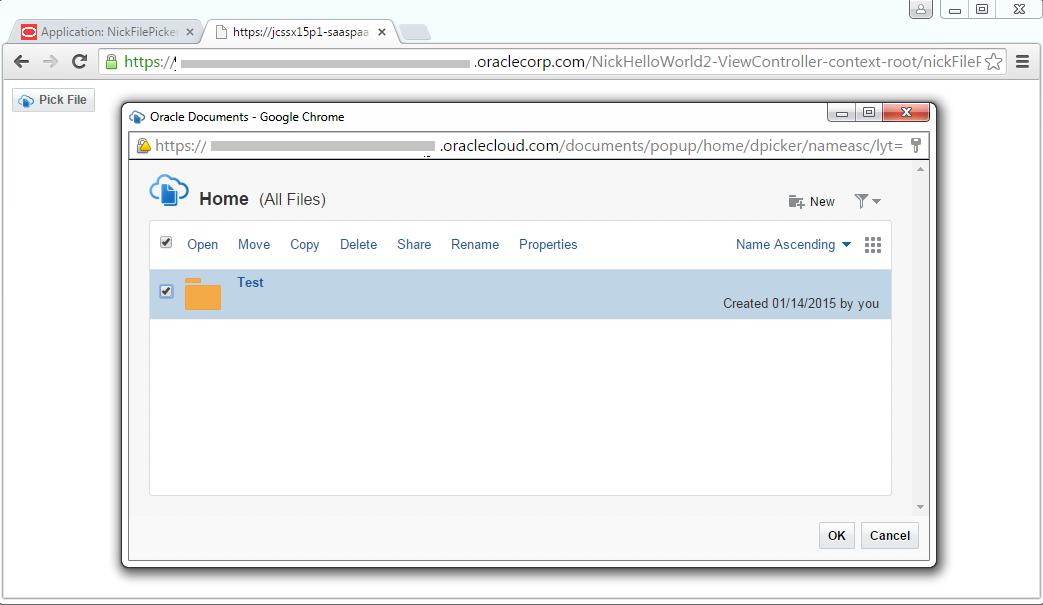 File Picker App running on JCS