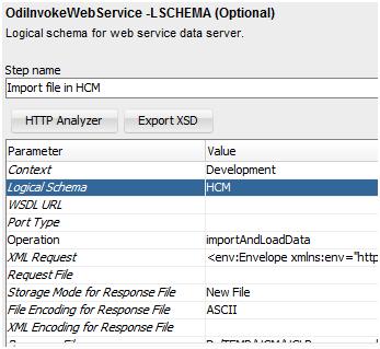 Parameters for odiInvokeWebService