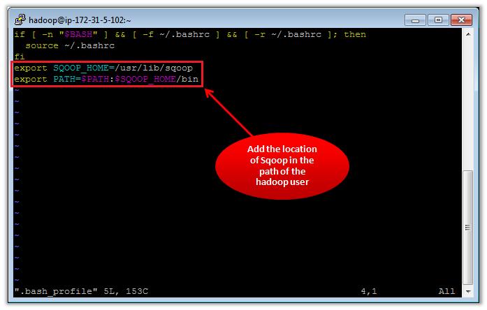 Figure 2 - Adding Sqoop in bash_profile