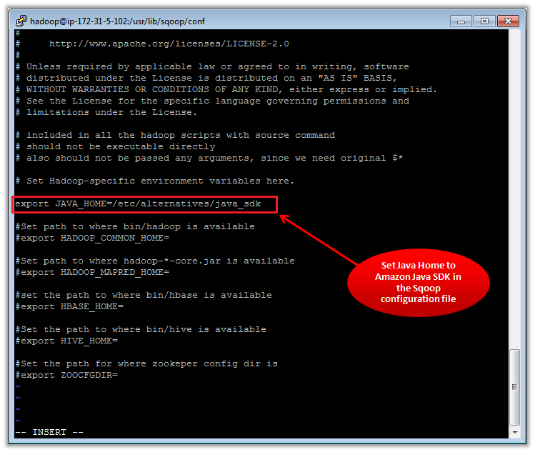 Figure 3 - Setting Java Home in the Sqoop Config File