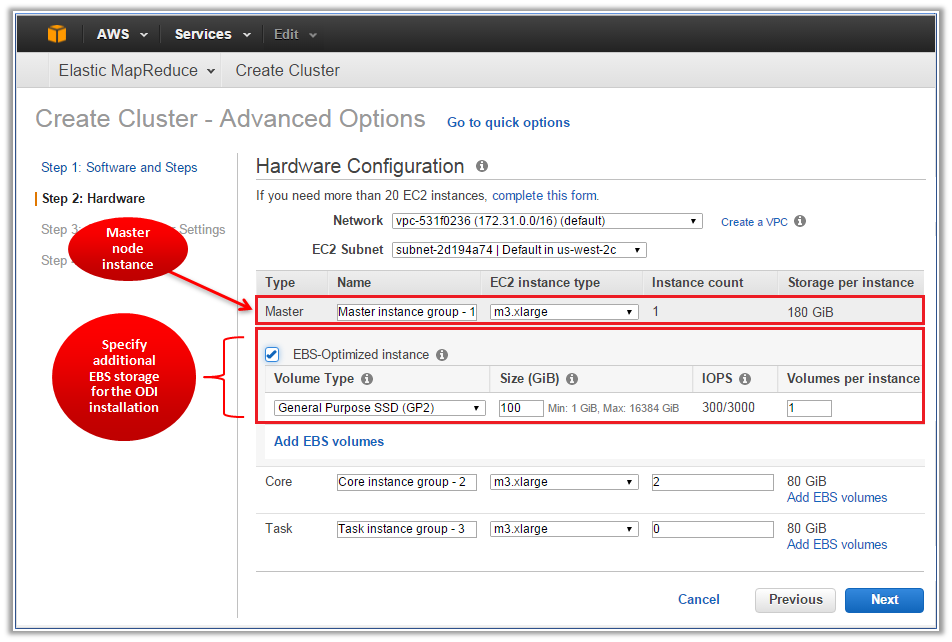 Figure 4 - Adding EBS Storage in the Amazon EMR Cluster