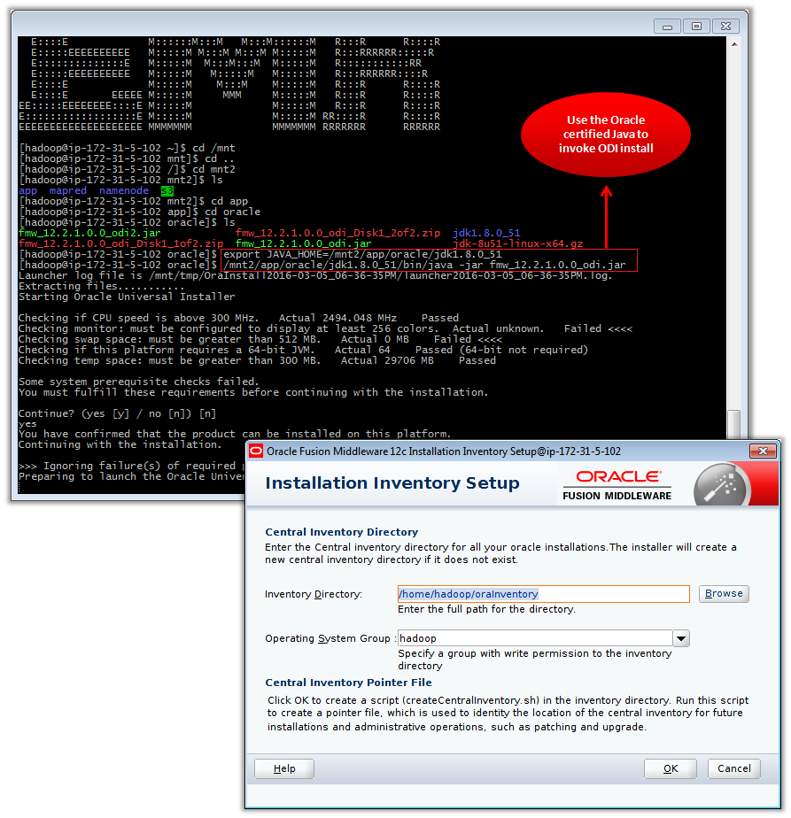 Figure 7 – Installing ODI in the Amazon EMR Master Node