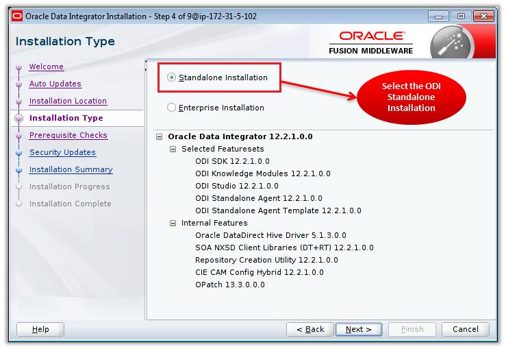 Figure 8 – Selecting the ODI Standalone Installation Type