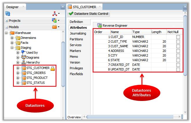 Figure 3 - ODI Reverse-Engineering – ODI Data Stores