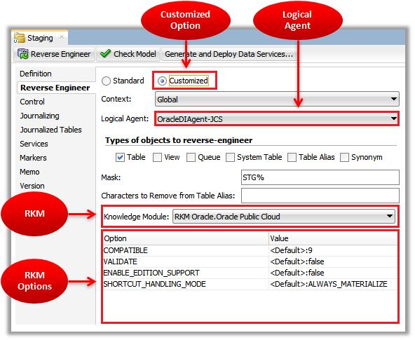 Figure 4 - ODI Reverse-Engineering – Customized Option
